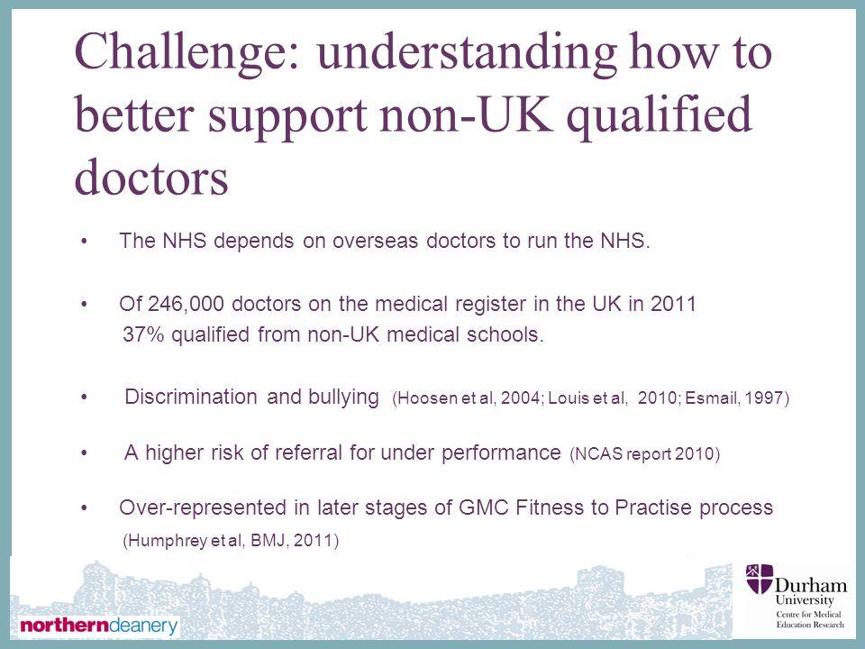 Challenge: understanding how to better support non-UK qualified doctors