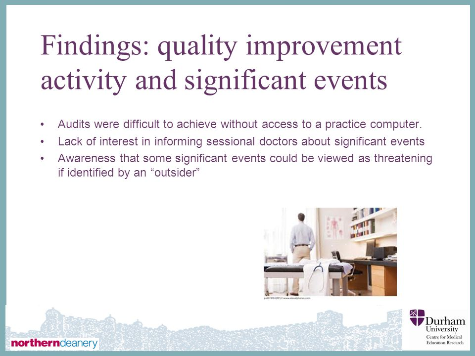 Findings: quality improvement activity and significant events