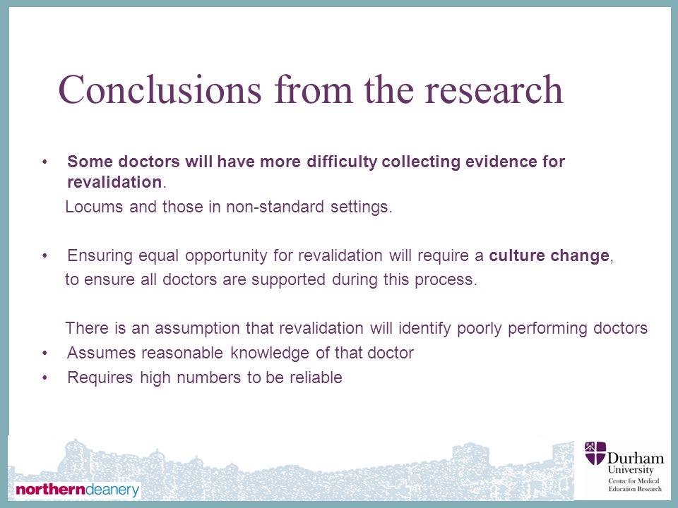 Conclusions from the research