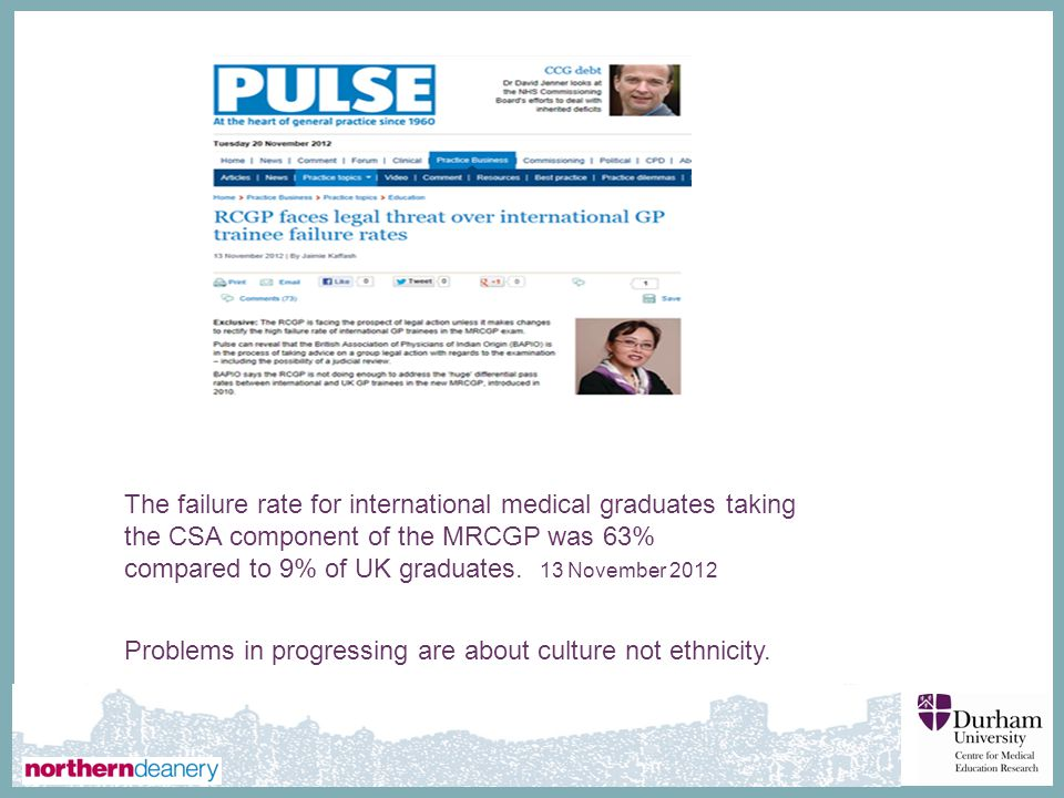 The failure rate for international medical graduates taking the CSA component of the MRCGP was 63%