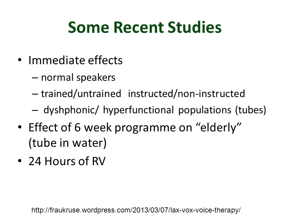 Some Recent Studies Immediate effects