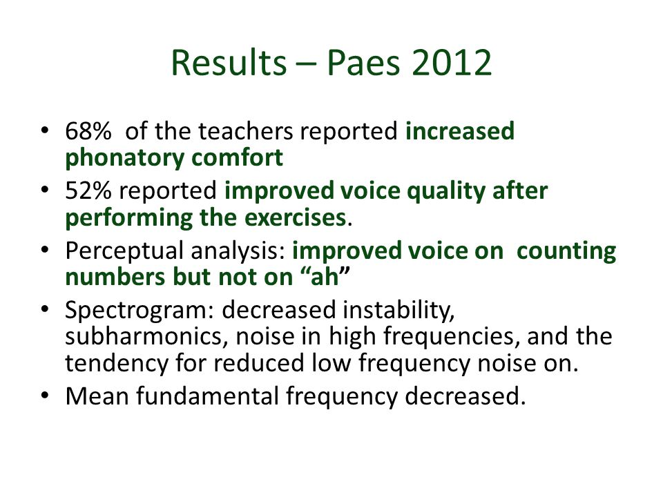 Results – Paes 2012 68% of the teachers reported increased phonatory comfort. 52% reported improved voice quality after performing the exercises.