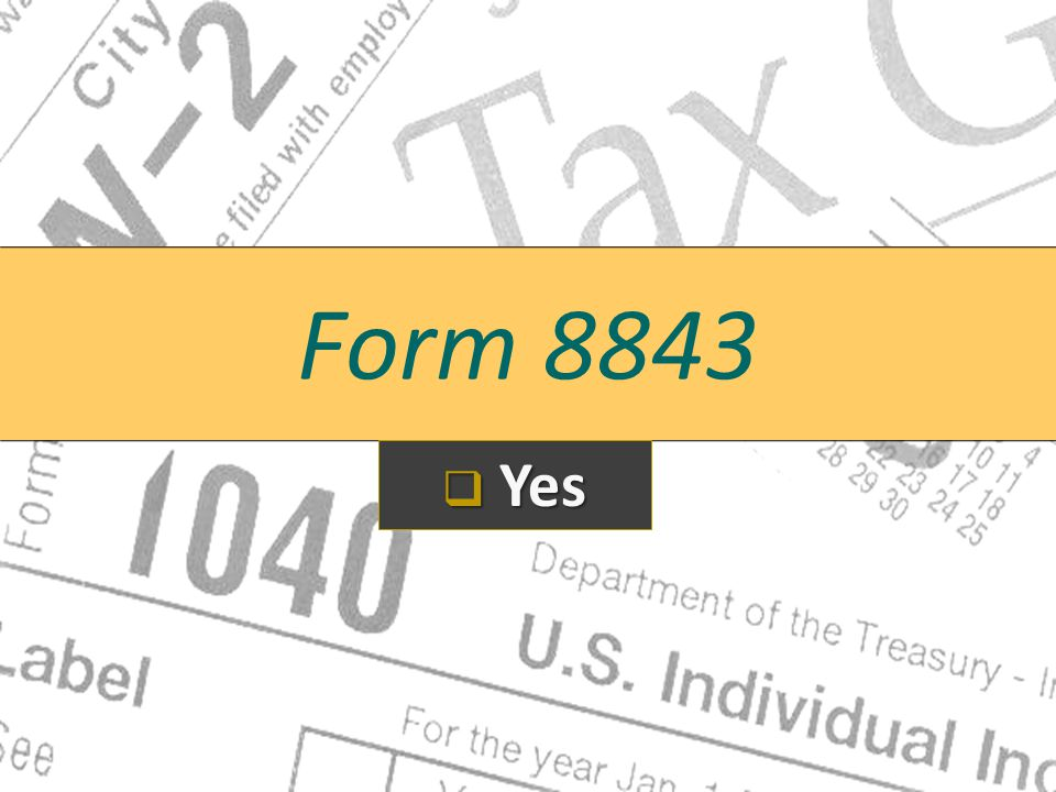 Form 8843 Yes