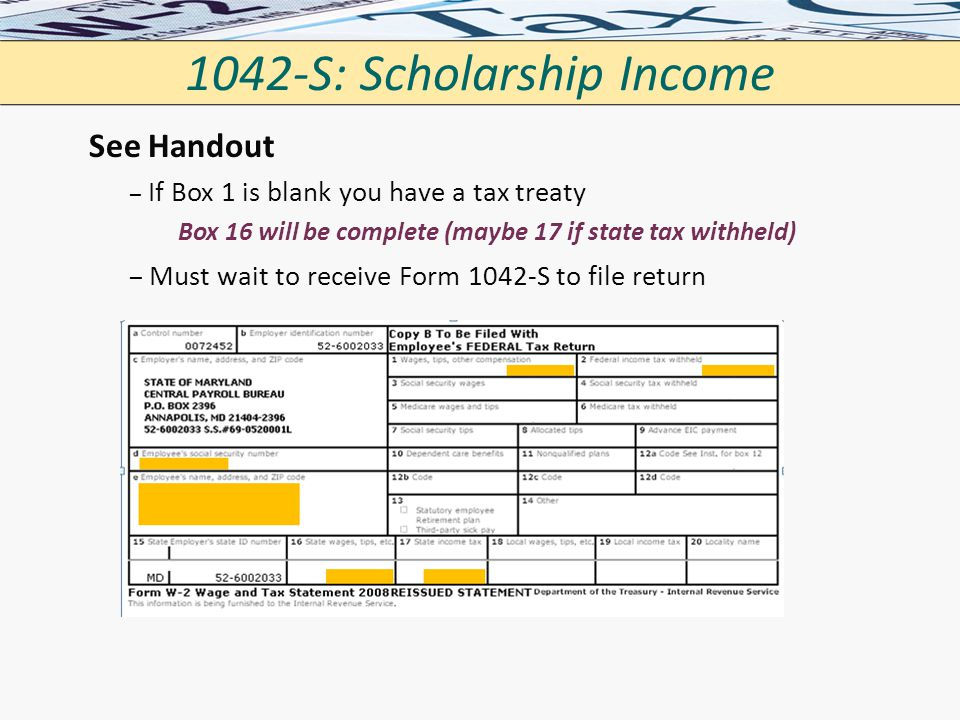 1042-S: Scholarship Income