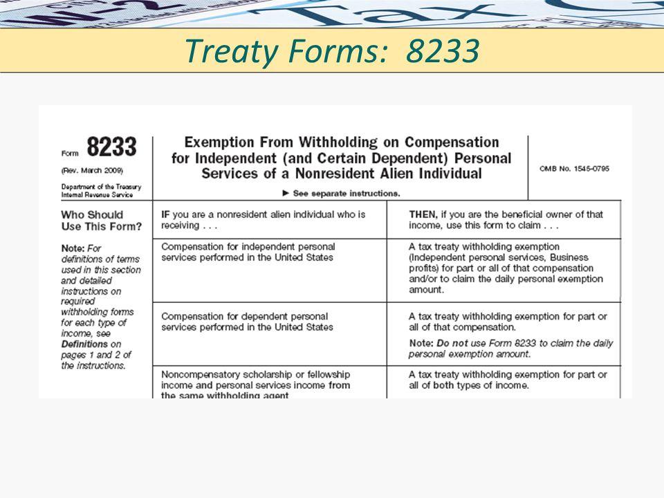 Treaty Forms: 8233