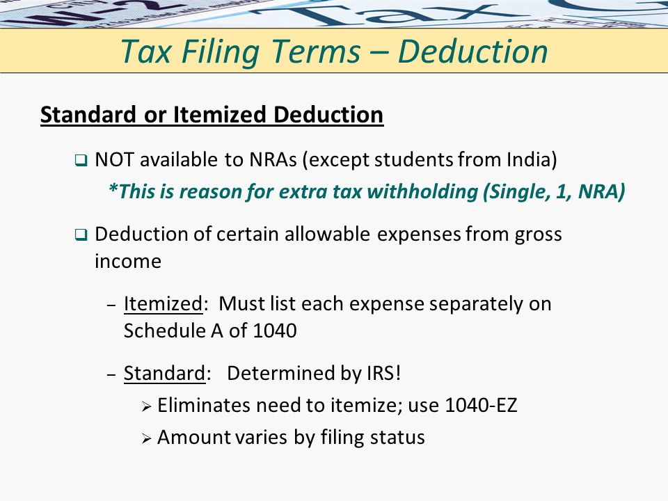 Tax Filing Terms – Deduction