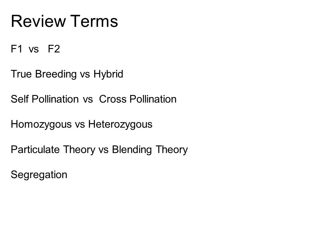 Review Terms F1 vs F2 True Breeding vs Hybrid