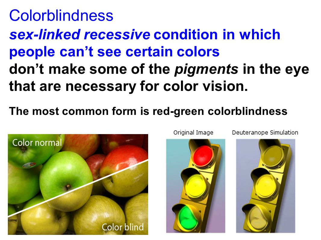Colorblindness sex-linked recessive condition in which people can't see certain colors.
