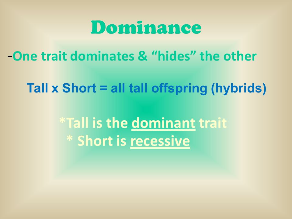 Tall x Short = all tall offspring (hybrids)