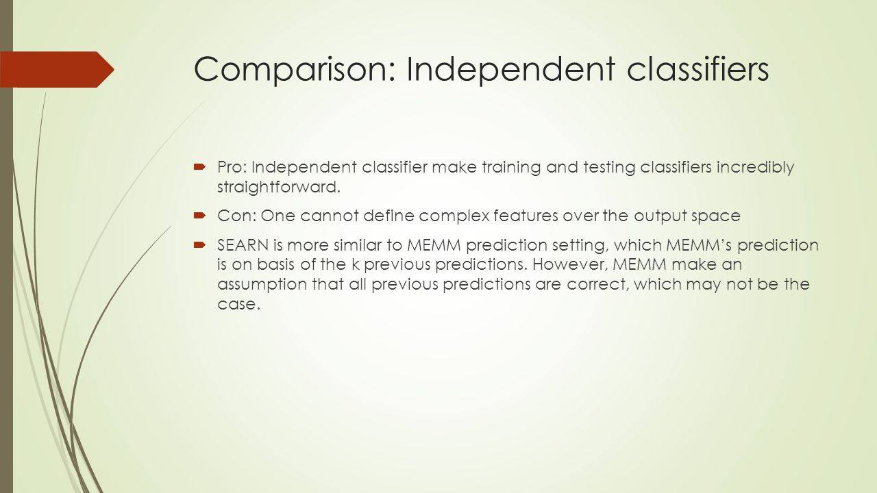 Comparison: Independent classifiers