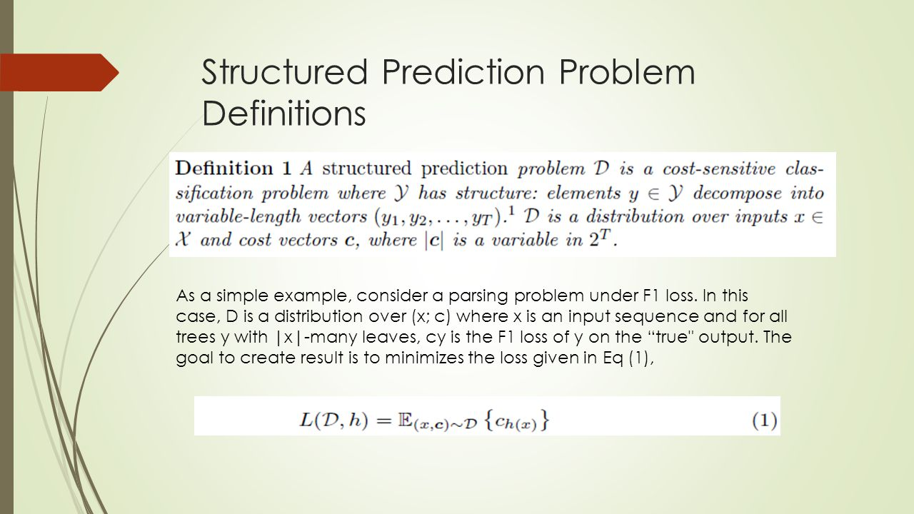 Structured Prediction Problem Definitions