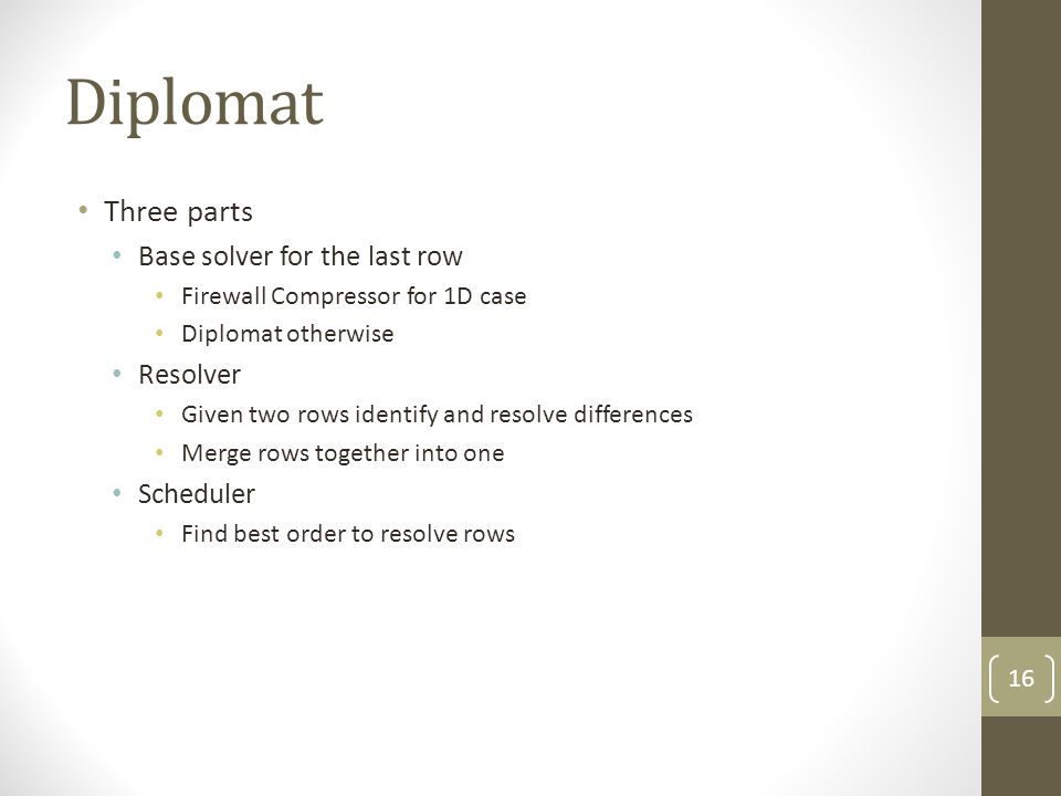Diplomat Three parts Base solver for the last row Resolver Scheduler