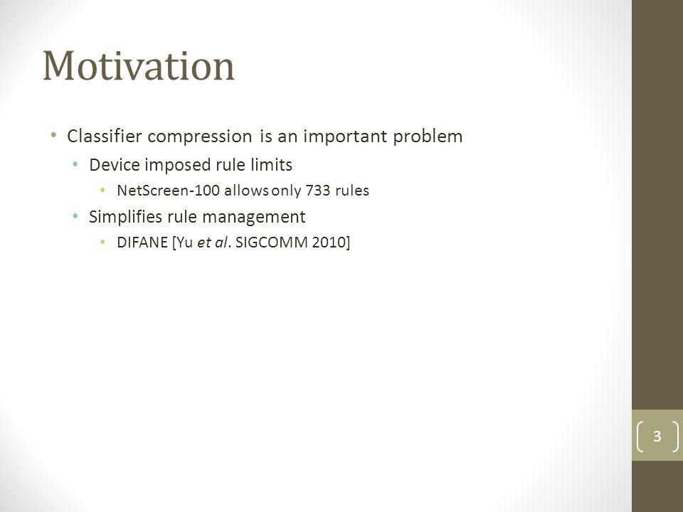 Motivation Classifier compression is an important problem