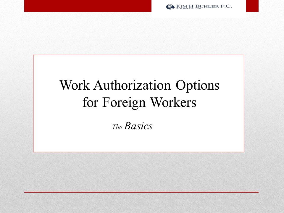Work Authorization Options for Foreign Workers