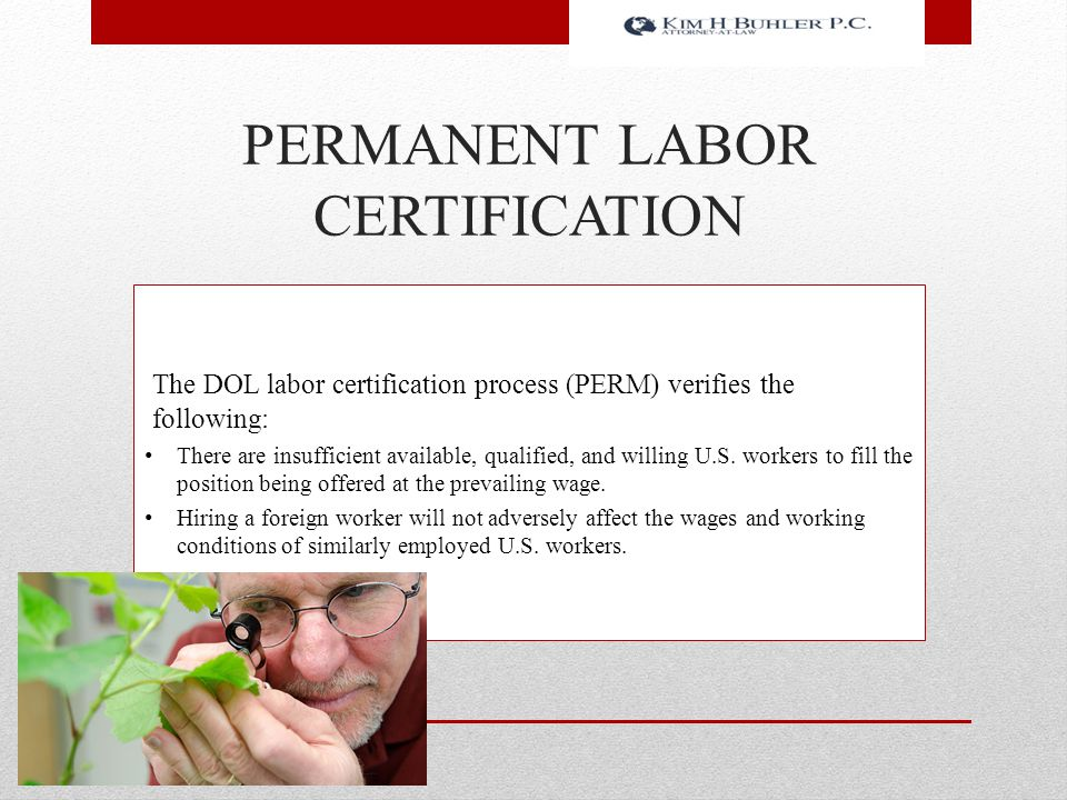 PERMANENT LABOR CERTIFICATION