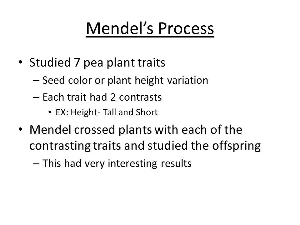 Mendel's Process Studied 7 pea plant traits