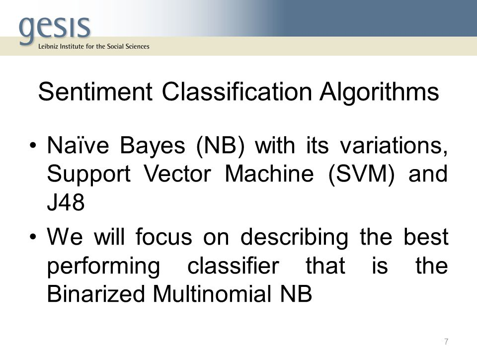 Sentiment Classification Algorithms