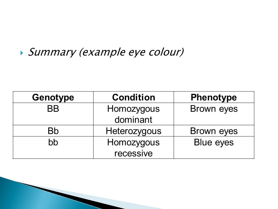 Summary (example eye colour)