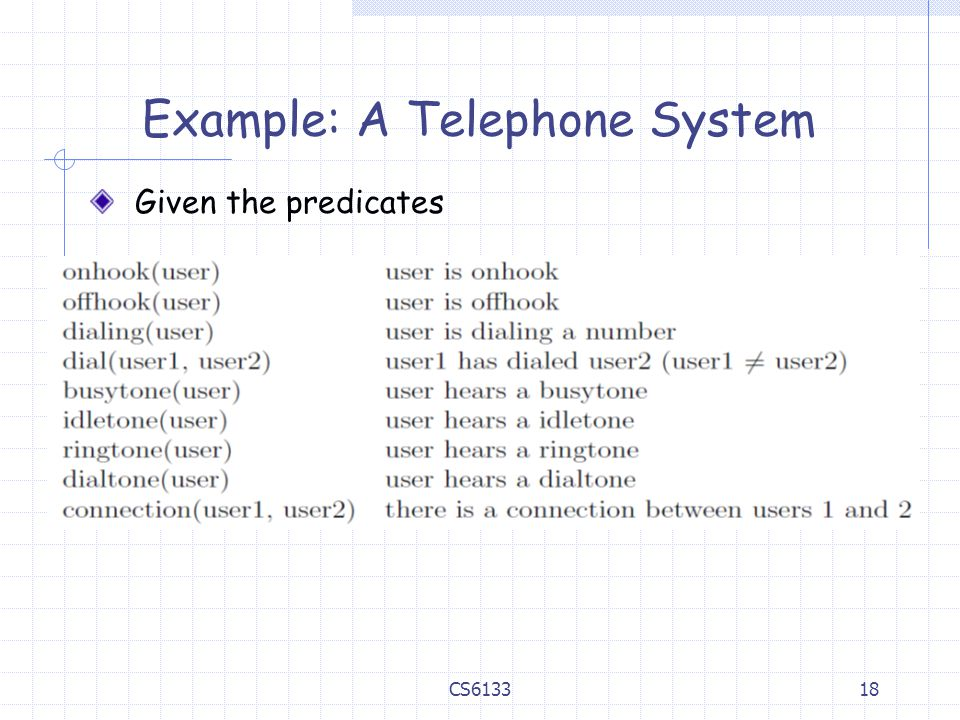 Example: A Telephone System