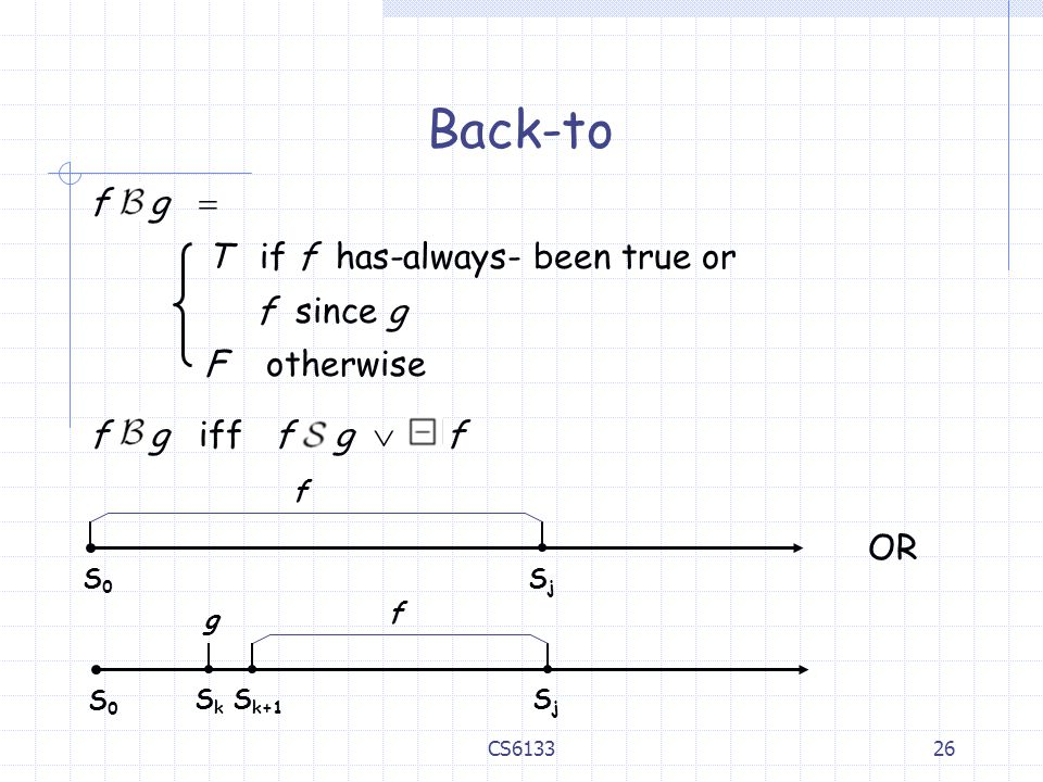 Back-to f g  T if f has-always- been true or f since g F otherwise