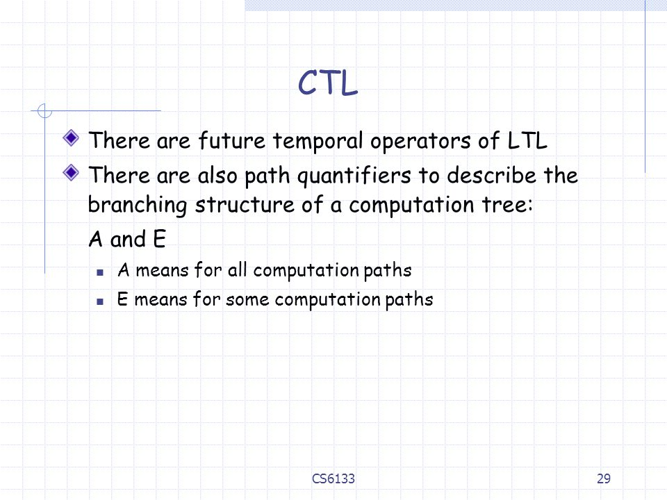 CTL There are future temporal operators of LTL