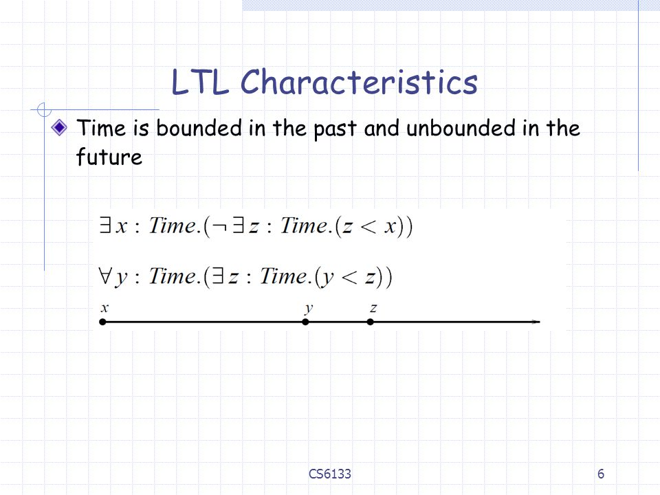 LTL Characteristics Time is bounded in the past and unbounded in the future CS6133