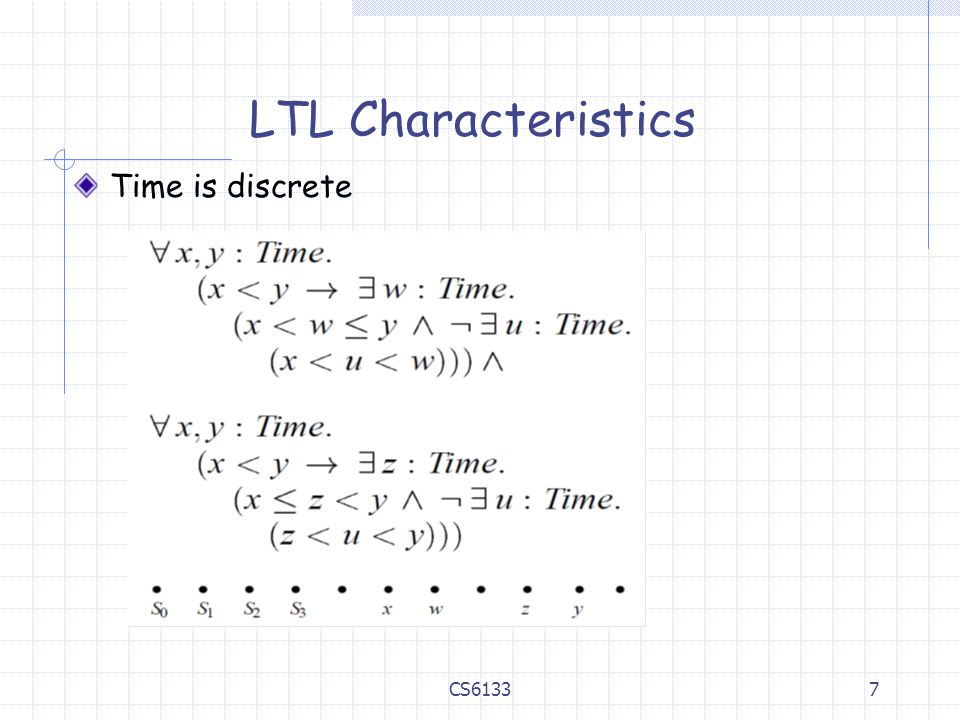 LTL Characteristics Time is discrete CS6133