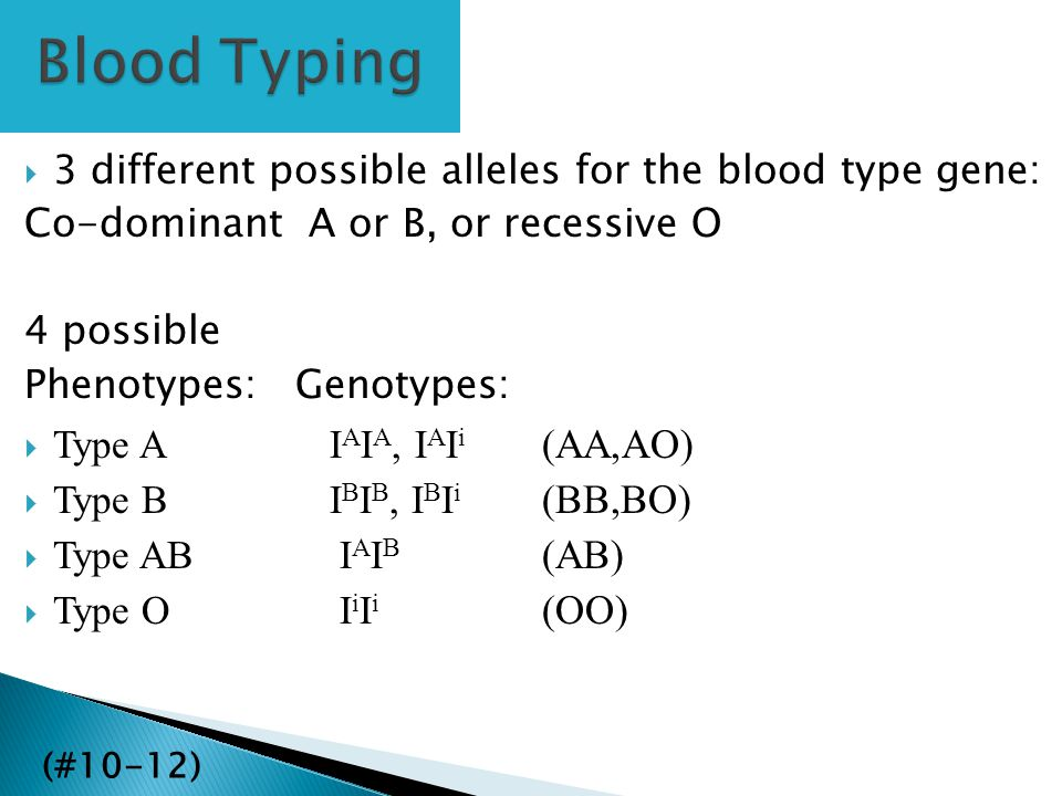 Blood Typing 3 different possible alleles for the blood type gene: