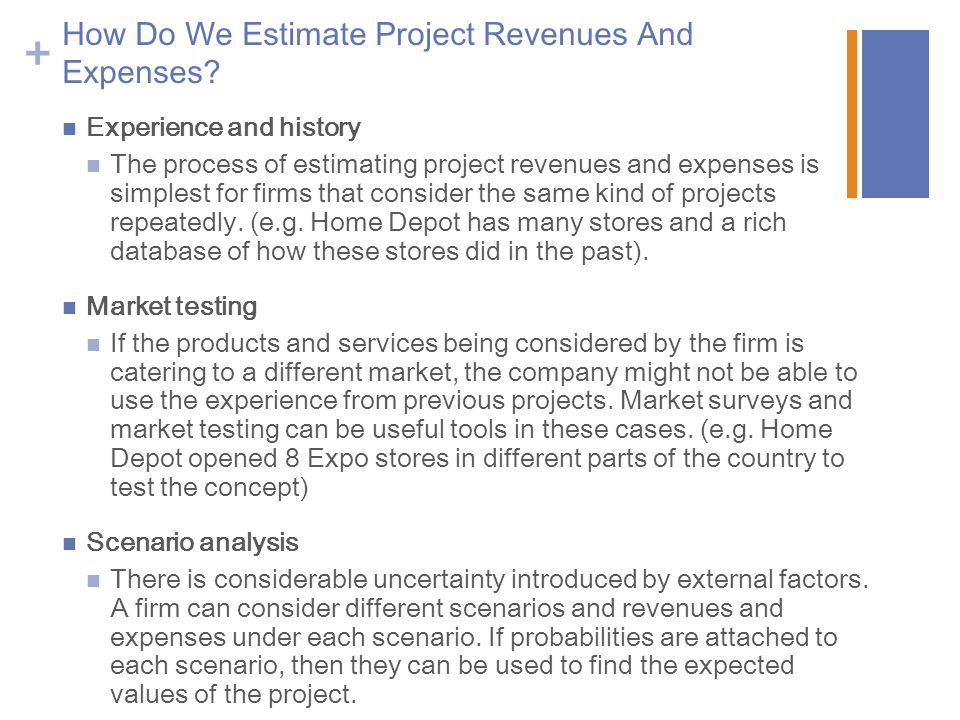 How Do We Estimate Project Revenues And Expenses