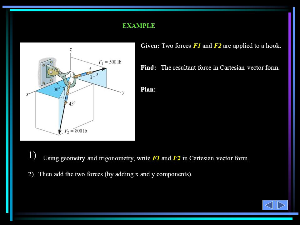 Given: Two forces F1 and F2 are applied to a hook.