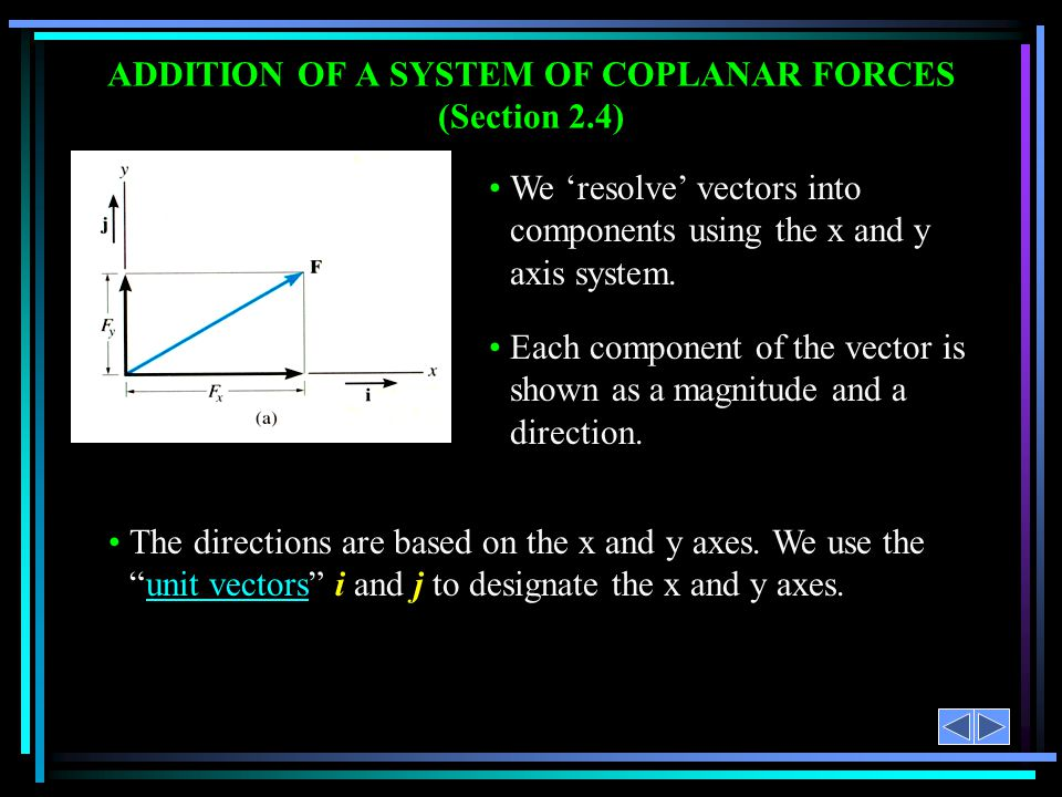ADDITION OF A SYSTEM OF COPLANAR FORCES (Section 2.4)