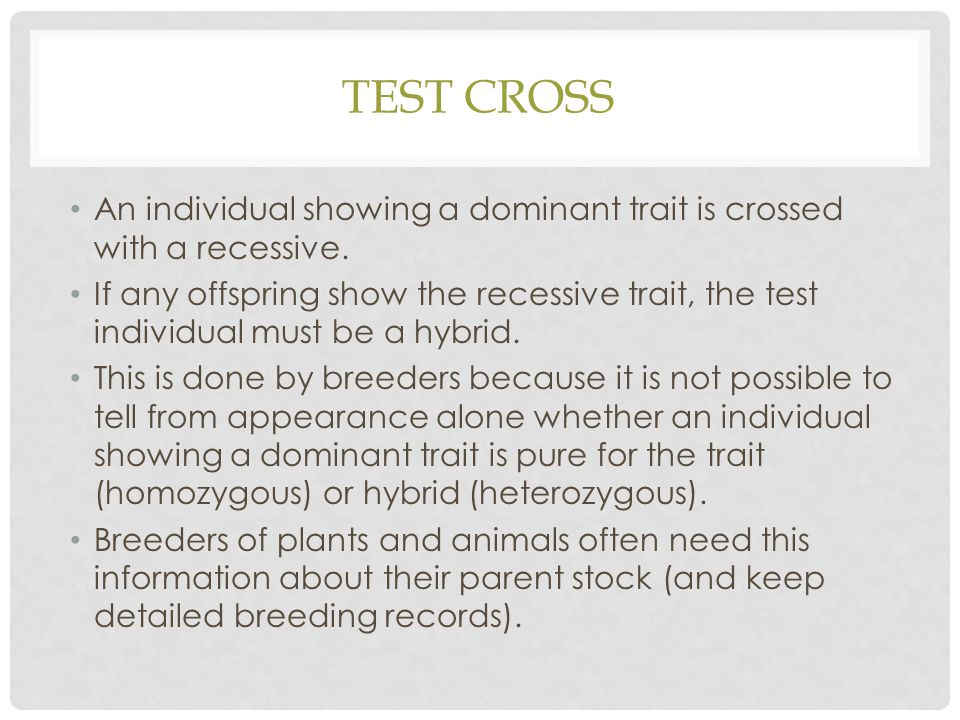 Test Cross An individual showing a dominant trait is crossed with a recessive.