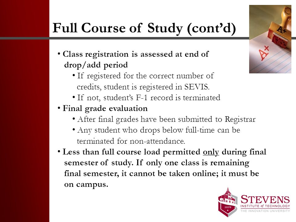 Full Course of Study (cont'd)