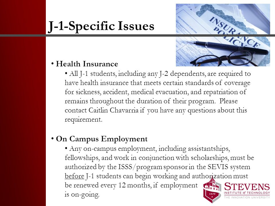 J-1-Specific Issues Health Insurance On Campus Employment