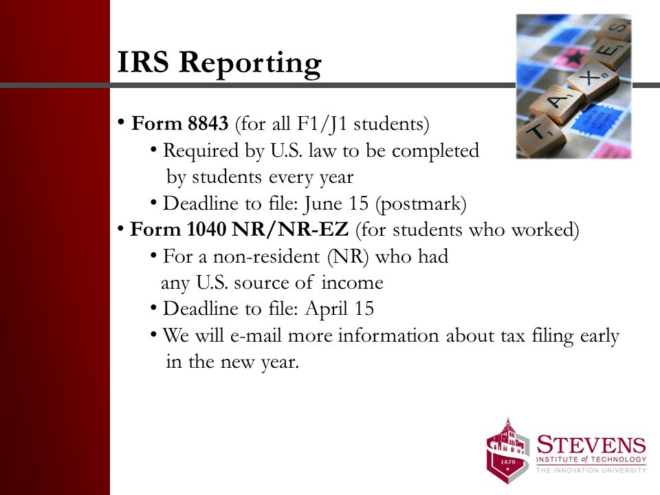 IRS Reporting Form 8843 (for all F1/J1 students)