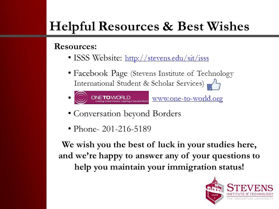 Helpful Resources & Best Wishes
