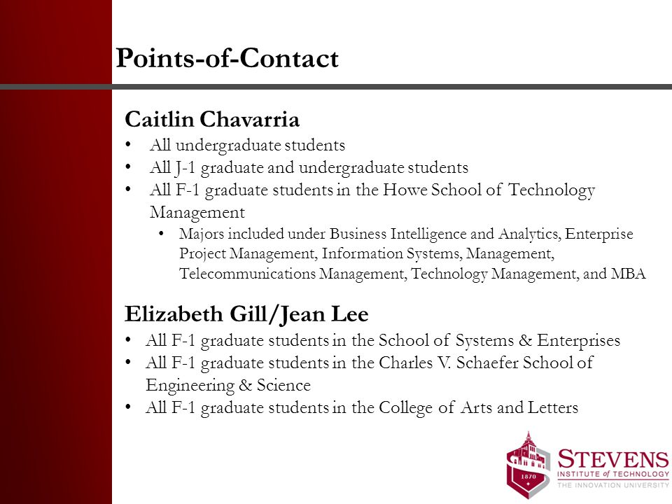 Points-of-Contact Caitlin Chavarria Elizabeth Gill/Jean Lee