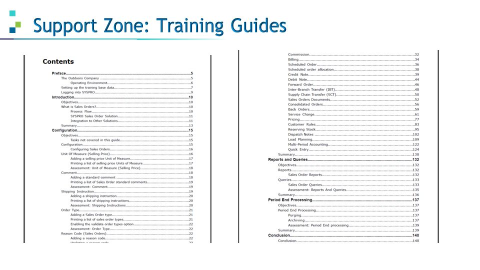 Support Zone: Training Guides