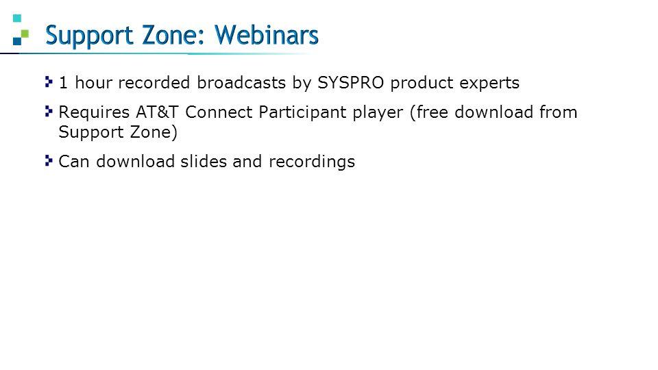 Support Zone: Webinars