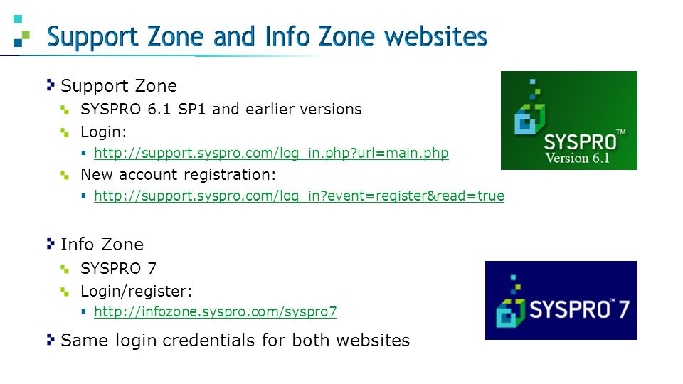 Support Zone and Info Zone websites