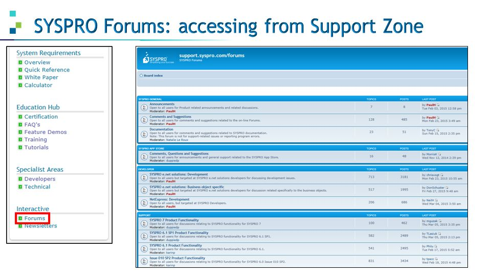 SYSPRO Forums: accessing from Support Zone