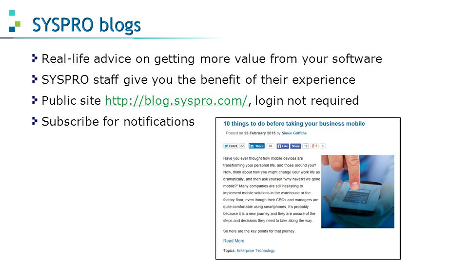 SYSPRO blogs Real-life advice on getting more value from your software