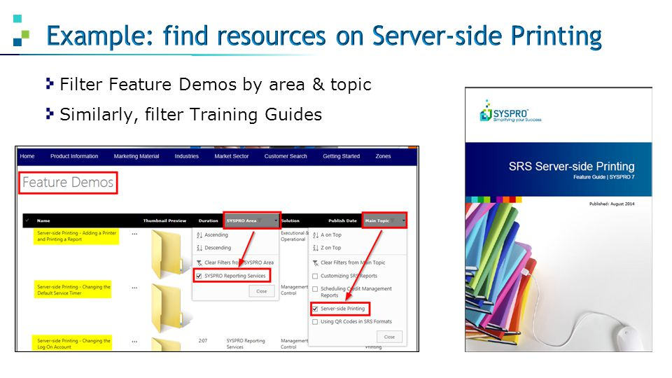 Example: find resources on Server-side Printing
