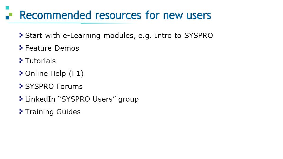 Recommended resources for new users