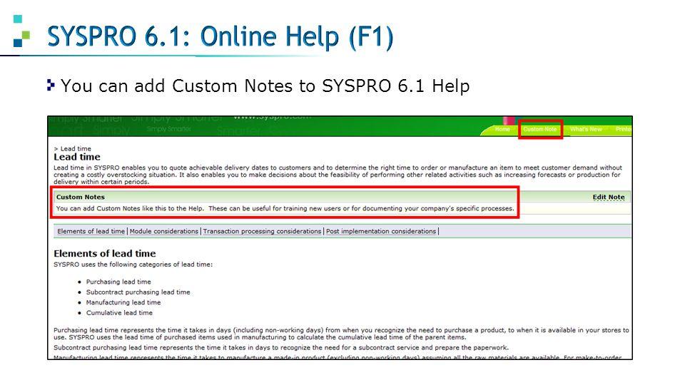 SYSPRO 6.1: Online Help (F1)