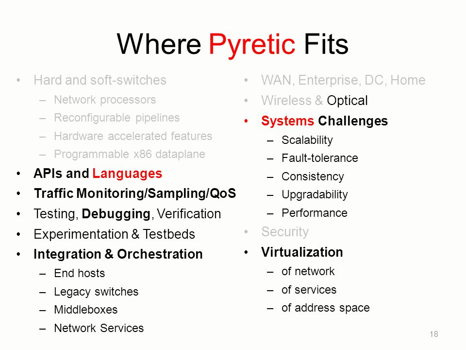 Where Pyretic Fits Hard and soft-switches APIs and Languages