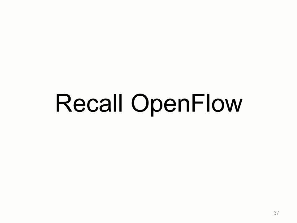 Recall OpenFlow
