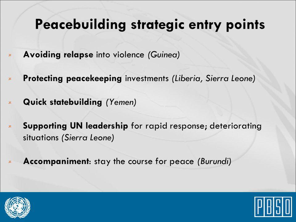 Peacebuilding strategic entry points