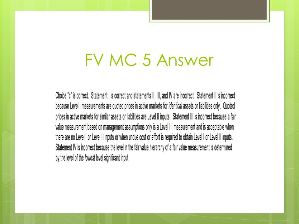 FV MC 5 Answer