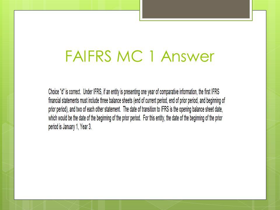 FAIFRS MC 1 Answer